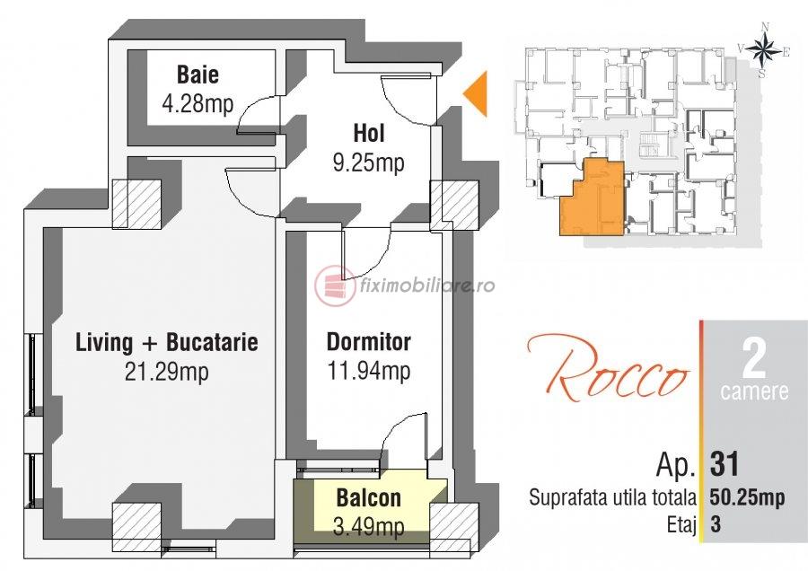 2 camere 50mp, etaj 3, 62.813 eur