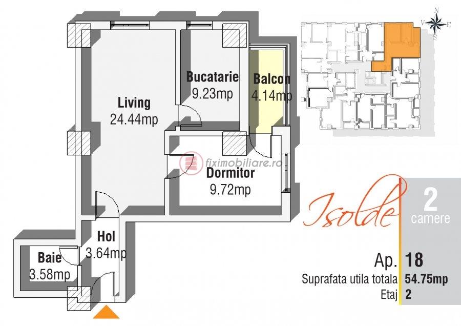 Apartament 2 camere in bloc finalizat la bulevard