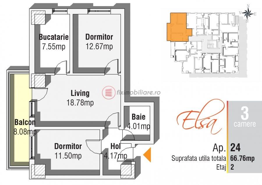 Apartament 3 camere in bloc finalizat la bulevard