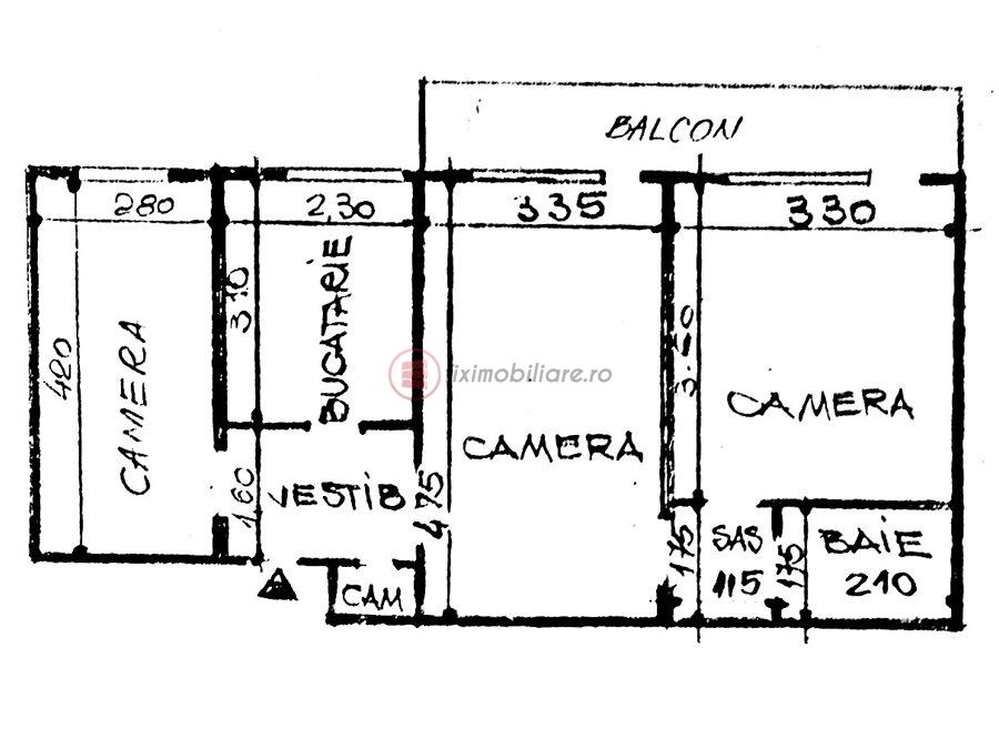 Podu Ros 3 camere 60mp etajul 2