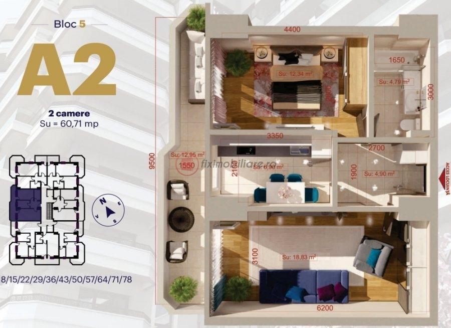 Copou - Apartament 2 camere decomandat 60,71mp etaj 3