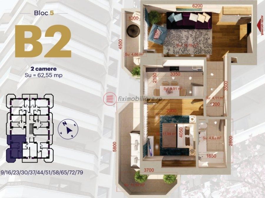 Copou - Apartament 2 camere decomandat 62,55mp etaj 3